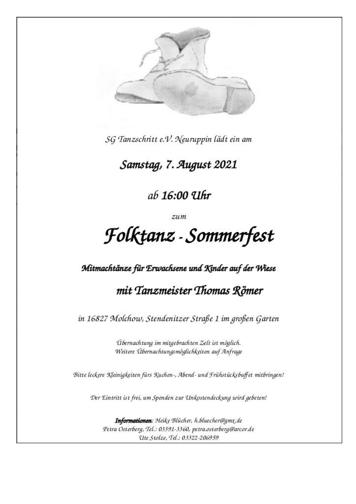 Einladung zum Folktanz-Sommerfest